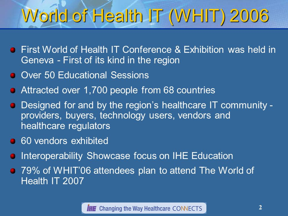3 Solution-targeted concept for the IT healthcare community across Europe, the Middle East and Africa Conference will provide: Best practices and case studies Best practices and case studies Symposia Programs Symposia Programs Keynote addresses Keynote addresses Education sessions (Call for Papers) Education sessions (Call for Papers) Networking, social, and business development events Networking, social, and business development events Cutting-edge trade exhibition Cutting-edge trade exhibition Technology showcases Technology showcases