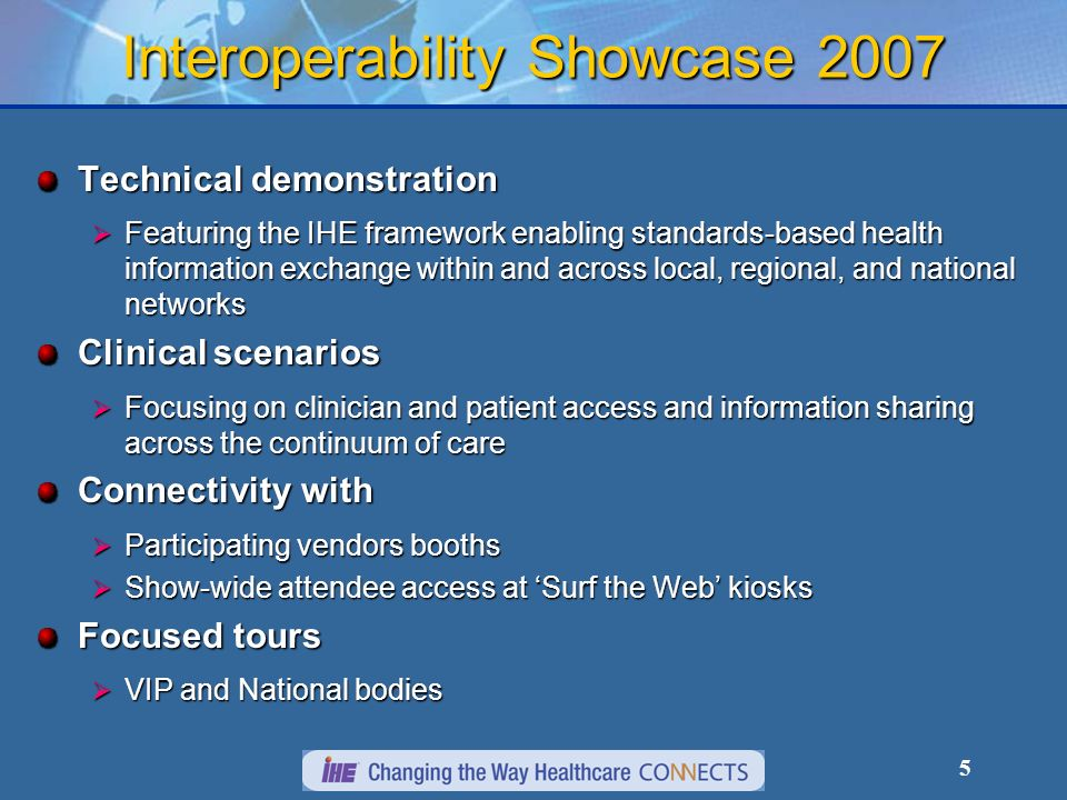 6 Interoperability Theater Theater – Education sessions Ongoing educational sessions focused on IHE and IHE case studies/implementations Ongoing educational sessions focused on IHE and IHE case studies/implementations Featuring speaker presentations on: Regional and national health information exchange projects Regional and national health information exchange projects Standards development initiatives and related activities Standards development initiatives and related activities Issues, products and insights from industry leaders Issues, products and insights from industry leaders User Success stories User Success stories