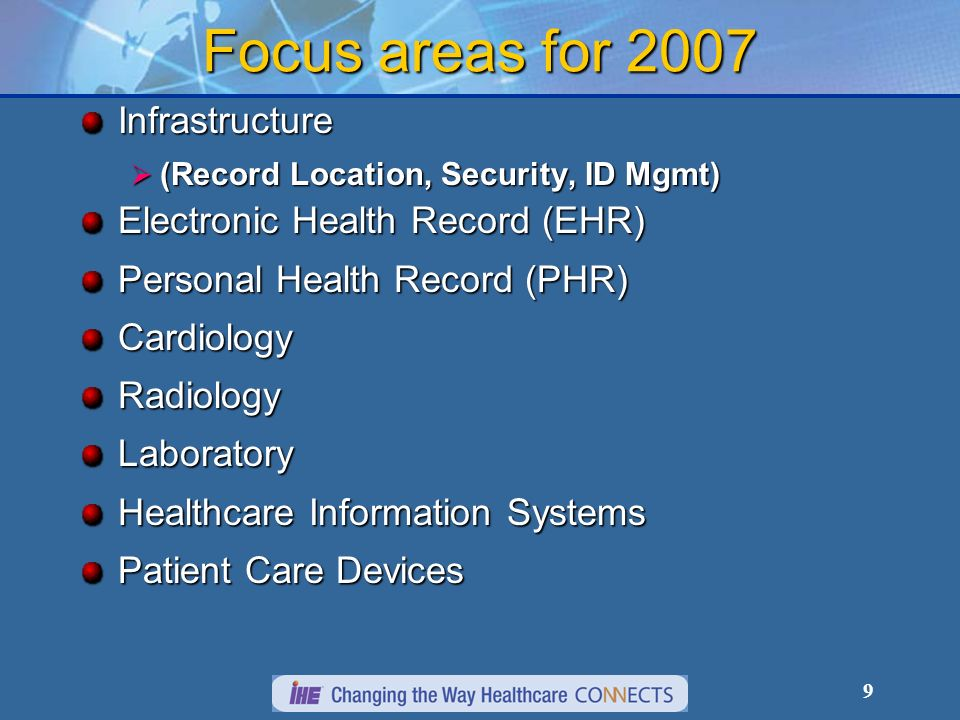 9 Focus areas for 2007 Infrastructure (Record Location, Security, ID Mgmt) (Record Location, Security, ID Mgmt) Electronic Health Record (EHR) Personal Health Record (PHR) CardiologyRadiologyLaboratory Healthcare Information Systems Healthcare Information Systems Patient Care Devices