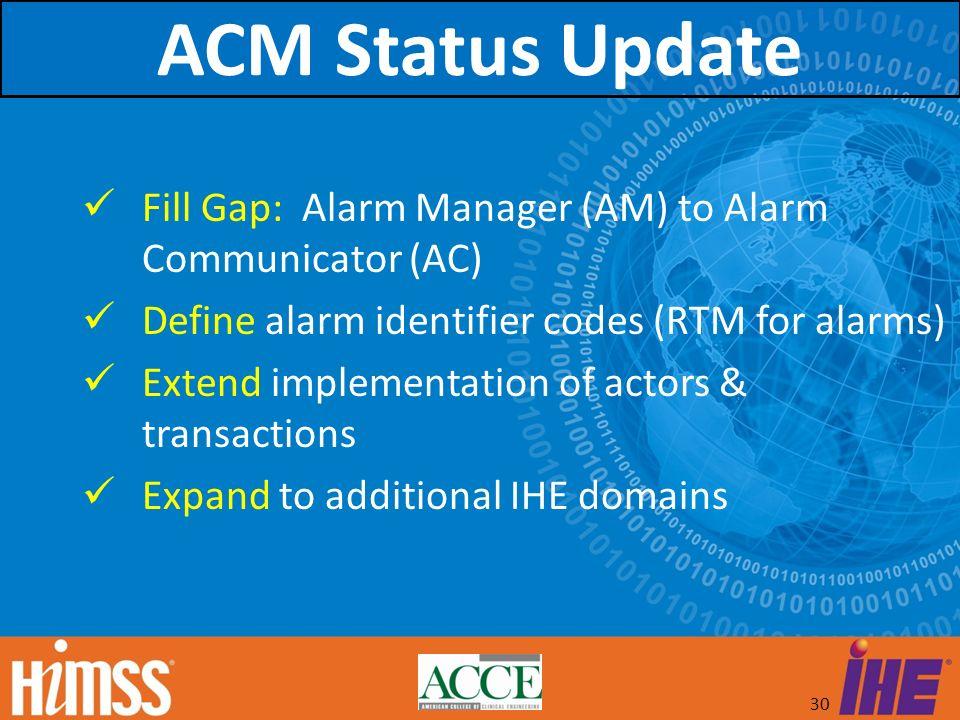 30 Fill Gap: Alarm Manager (AM) to Alarm Communicator (AC) Define alarm identifier codes (RTM for alarms) Extend implementation of actors & transactio
