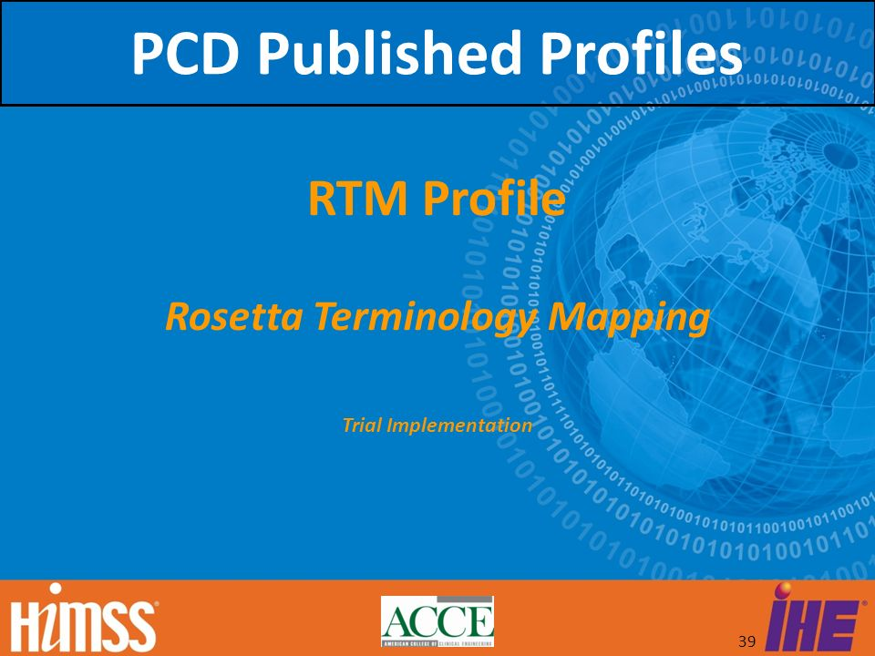 39 RTM Profile Rosetta Terminology Mapping Trial Implementation PCD Published Profiles