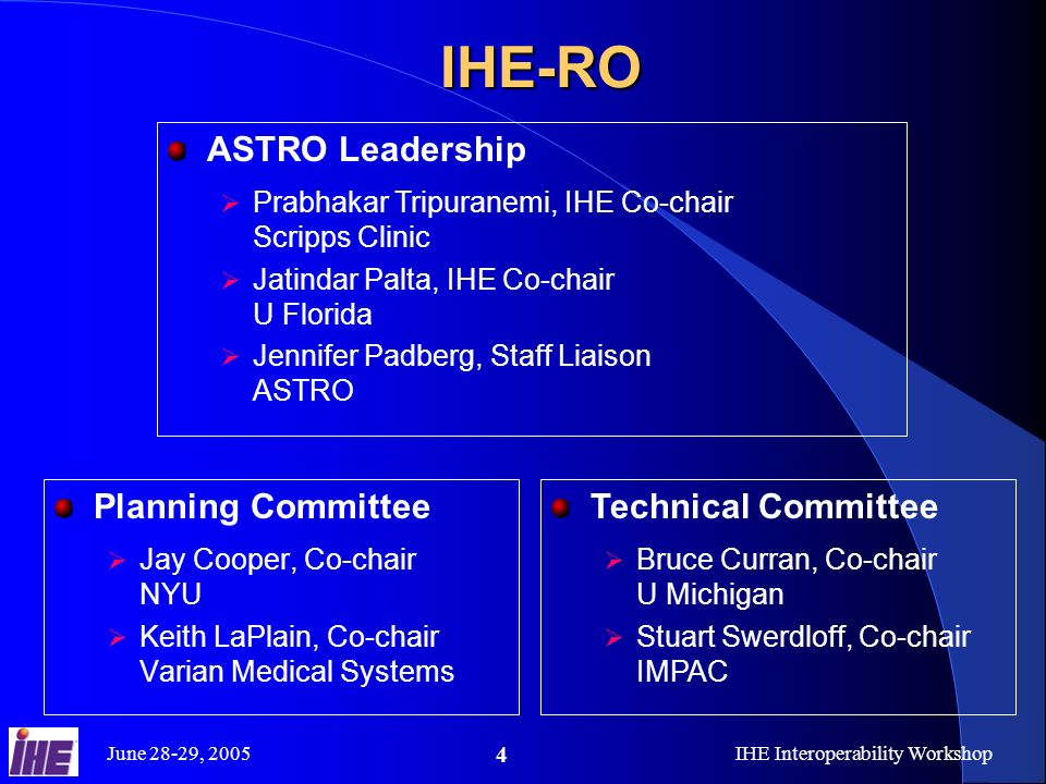June 28-29, 2005IHE Interoperability Workshop 4IHE-RO Planning Committee Jay Cooper, Co-chair NYU Keith LaPlain, Co-chair Varian Medical Systems Technical Committee Bruce Curran, Co-chair U Michigan Stuart Swerdloff, Co-chair IMPAC ASTRO Leadership Prabhakar Tripuranemi, IHE Co-chair Scripps Clinic Jatindar Palta, IHE Co-chair U Florida Jennifer Padberg, Staff Liaison ASTRO