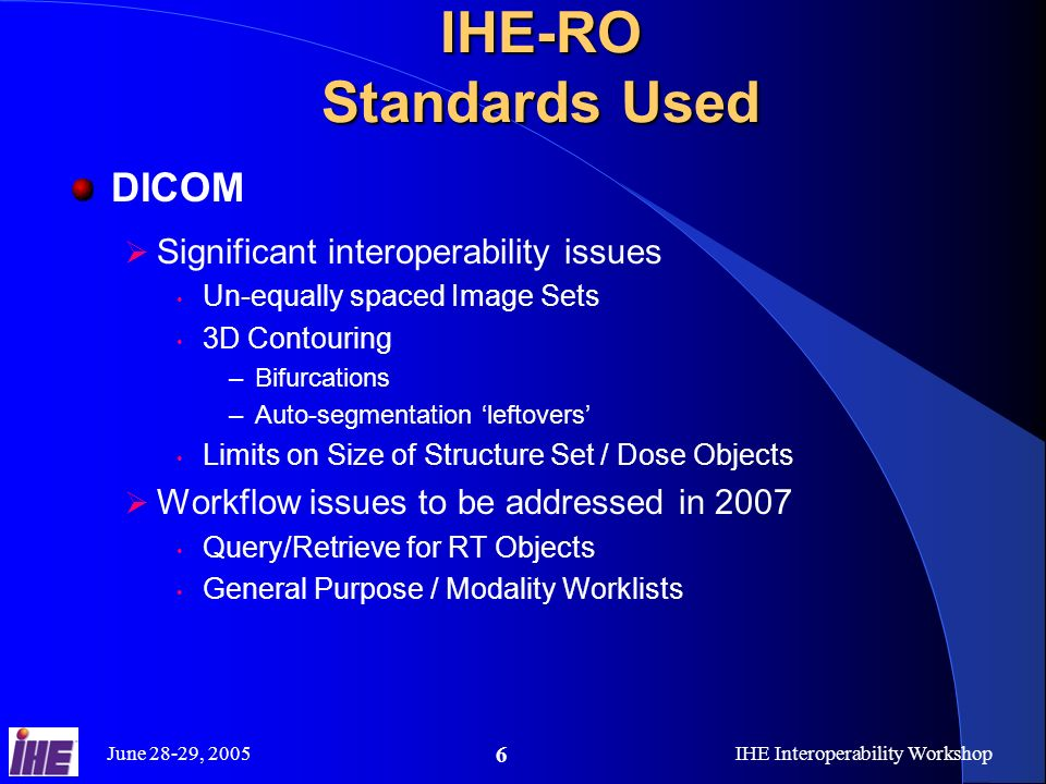 June 28-29, 2005IHE Interoperability Workshop 6 IHE-RO Standards Used DICOM Significant interoperability issues Un-equally spaced Image Sets 3D Contou