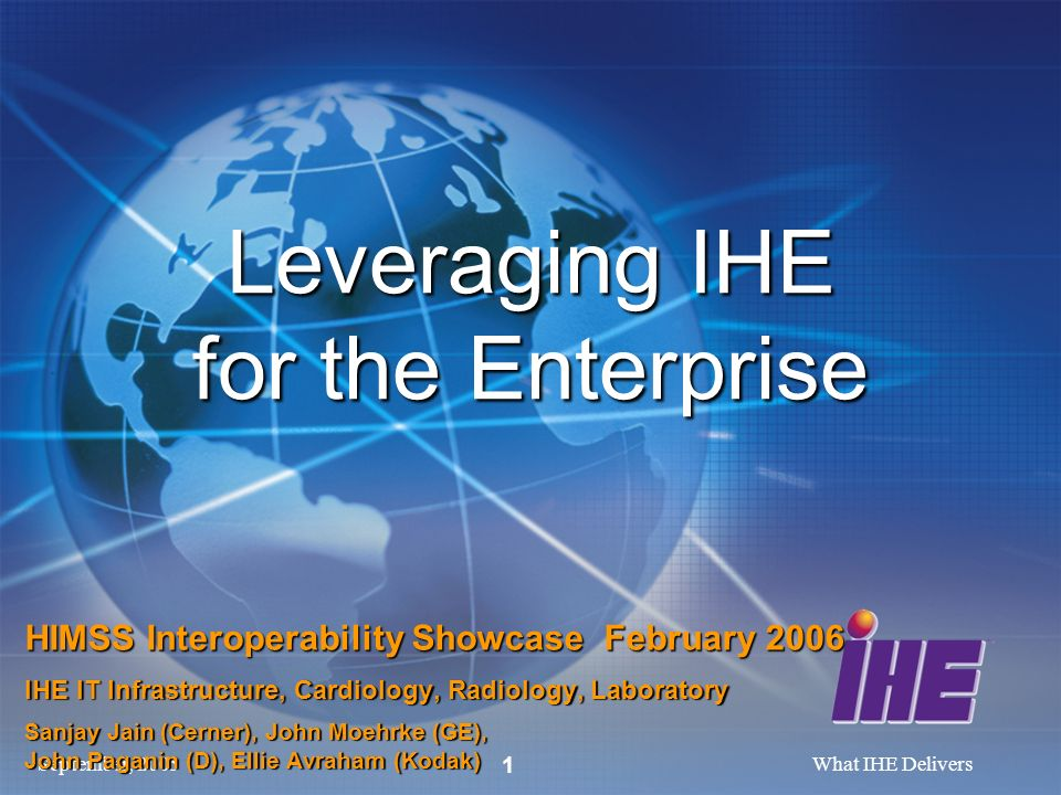 September, 2005What IHE Delivers 1 Leveraging IHE for the Enterprise HIMSS Interoperability Showcase February 2006 IHE IT Infrastructure, Cardiology,