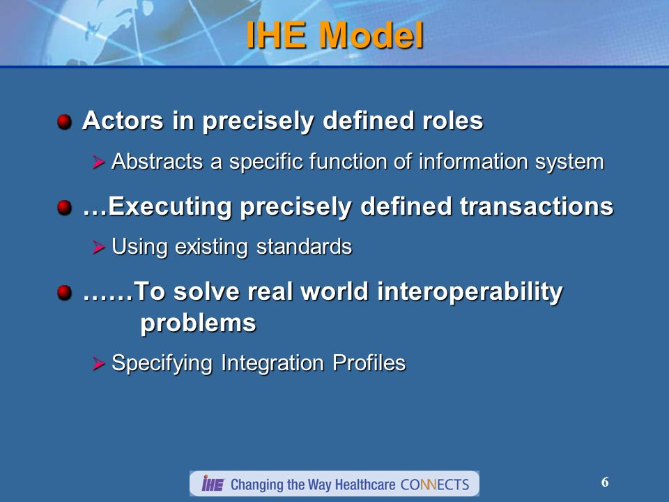 6 IHE Model Actors in precisely defined roles Abstracts a specific function of information system Abstracts a specific function of information system