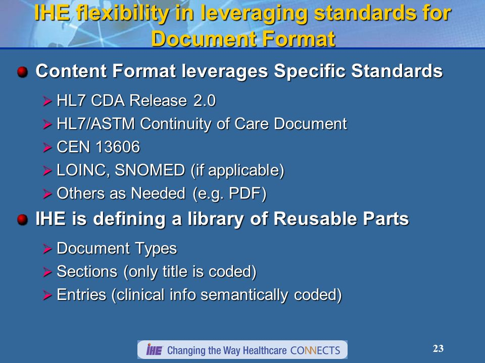 23 IHE flexibility in leveraging standards for Document Format Content Format leverages Specific Standards HL7 CDA Release 2.0 HL7 CDA Release 2.0 HL7/ASTM Continuity of Care Document HL7/ASTM Continuity of Care Document CEN 13606 CEN 13606 LOINC, SNOMED (if applicable) LOINC, SNOMED (if applicable) Others as Needed (e.g.