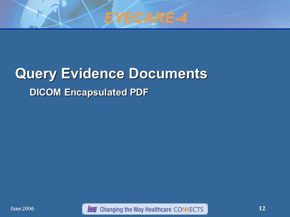 June 2006 12 Query Evidence Documents DICOM Encapsulated PDF EYECARE-4