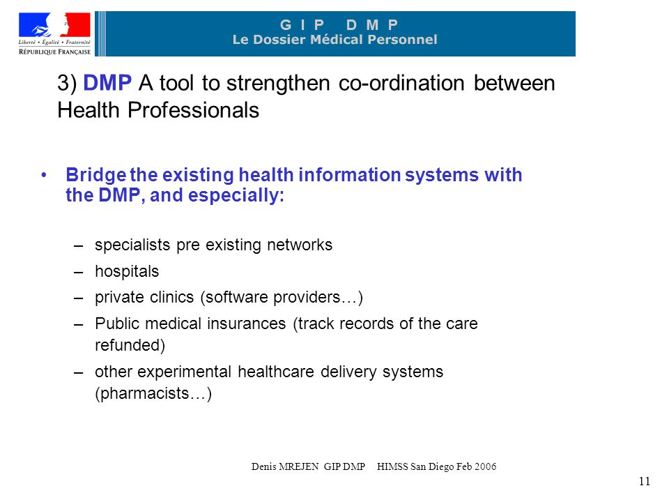 Denis MREJEN GIP DMP HIMSS San Diego Feb 2006 11 3) DMP A tool to strengthen co-ordination between Health Professionals Bridge the existing health information systems with the DMP, and especially: –specialists pre existing networks –hospitals –private clinics (software providers…) –Public medical insurances (track records of the care refunded) –other experimental healthcare delivery systems (pharmacists…)