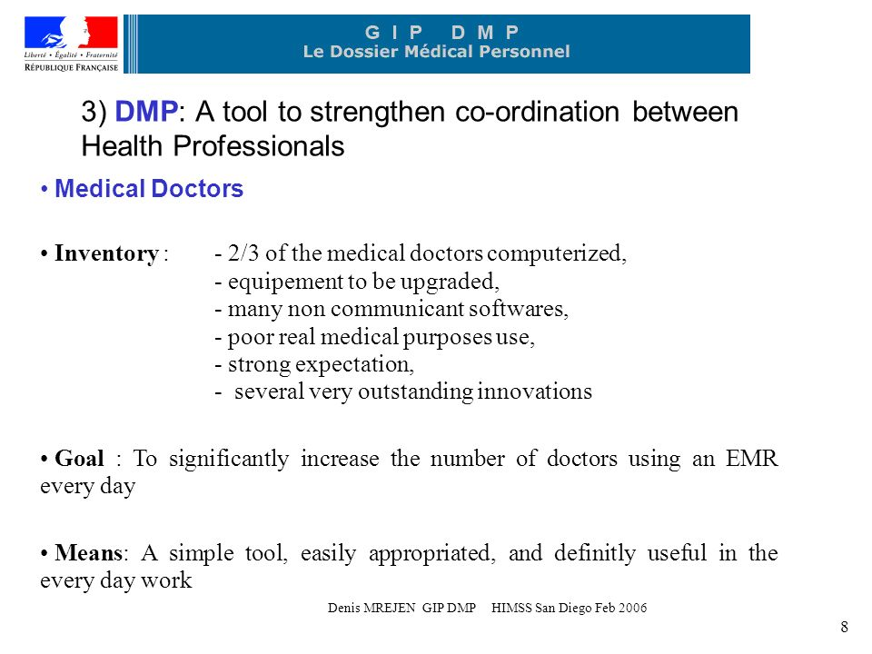 Denis MREJEN GIP DMP HIMSS San Diego Feb 2006 8 3) DMP: A tool to strengthen co-ordination between Health Professionals Medical Doctors Inventory :- 2/3 of the medical doctors computerized, - equipement to be upgraded, - many non communicant softwares, - poor real medical purposes use, - strong expectation, - several very outstanding innovations Goal : To significantly increase the number of doctors using an EMR every day Means: A simple tool, easily appropriated, and definitly useful in the every day work