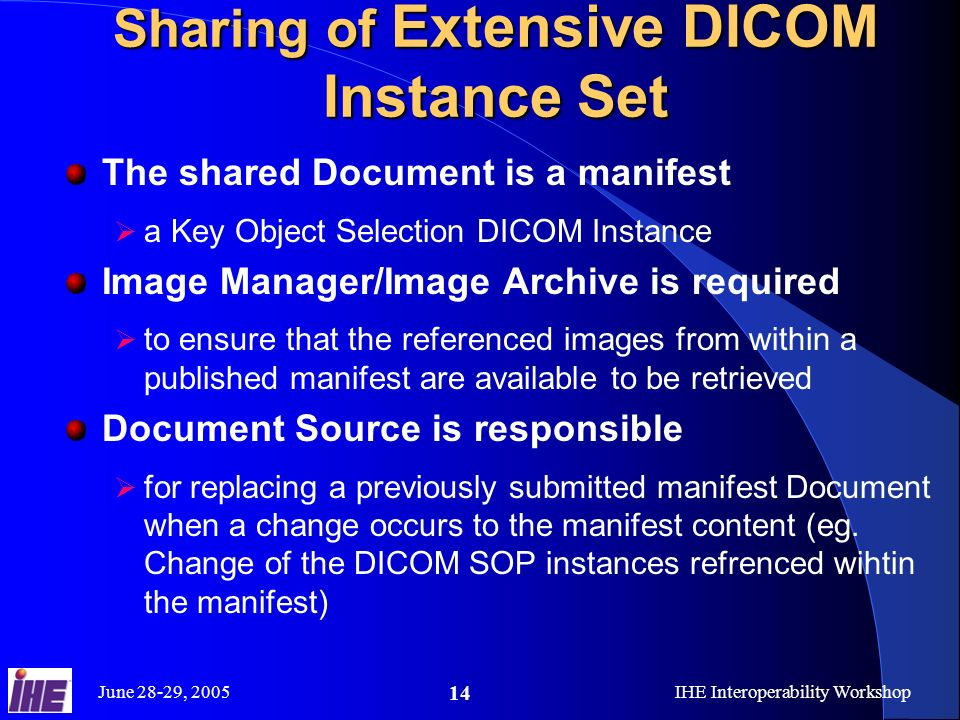 June 28-29, 2005IHE Interoperability Workshop 14 Sharing of Extensive DICOM Instance Set The shared Document is a manifest a Key Object Selection DICOM Instance Image Manager/Image Archive is required to ensure that the referenced images from within a published manifest are available to be retrieved Document Source is responsible for replacing a previously submitted manifest Document when a change occurs to the manifest content (eg.