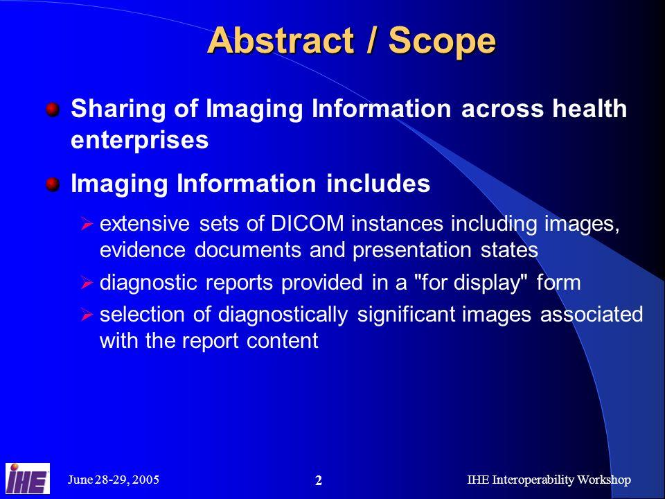 June 28-29, 2005IHE Interoperability Workshop 13 Extensive DICOM Instance Set