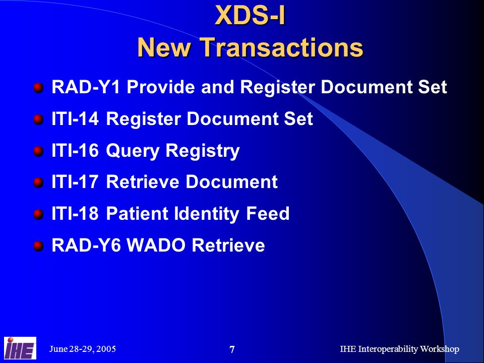 June 28-29, 2005IHE Interoperability Workshop 7 XDS-I New Transactions RAD-Y1 Provide and Register Document Set ITI-14 Register Document Set ITI-16 Query Registry ITI-17 Retrieve Document ITI-18 Patient Identity Feed RAD-Y6 WADO Retrieve