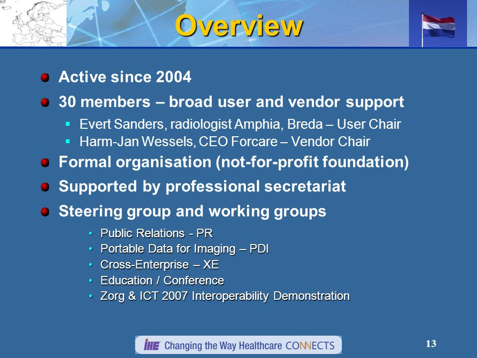 13 Overview Active since 2004 30 members – broad user and vendor support Evert Sanders, radiologist Amphia, Breda – User Chair Harm-Jan Wessels, CEO Forcare – Vendor Chair Formal organisation (not-for-profit foundation) Supported by professional secretariat Steering group and working groups Public Relations - PRPublic Relations - PR Portable Data for Imaging – PDIPortable Data for Imaging – PDI Cross-Enterprise – XECross-Enterprise – XE Education / ConferenceEducation / Conference Zorg & ICT 2007 Interoperability DemonstrationZorg & ICT 2007 Interoperability Demonstration