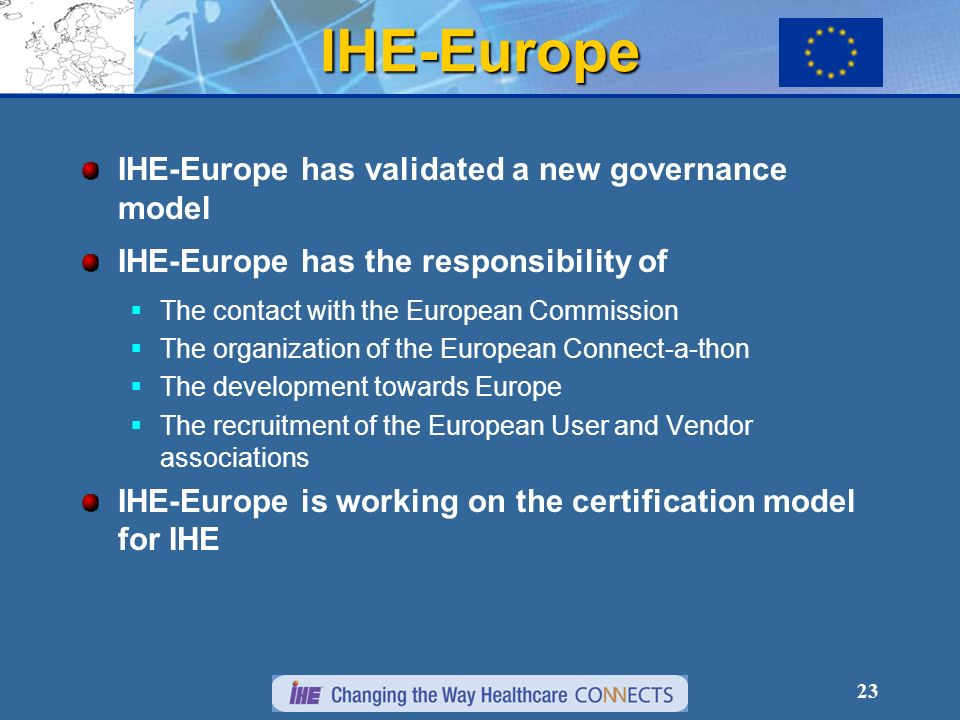 23 IHE-Europe IHE-Europe has validated a new governance model IHE-Europe has the responsibility of The contact with the European Commission The organization of the European Connect-a-thon The development towards Europe The recruitment of the European User and Vendor associations IHE-Europe is working on the certification model for IHE