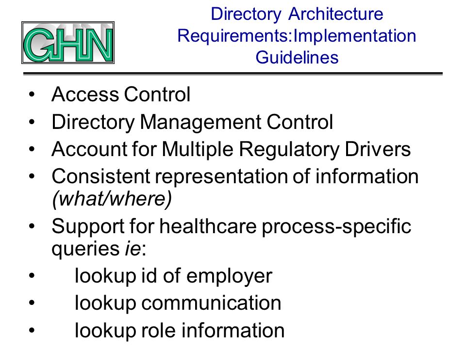 Directory Architecture Requirements:Implementation Guidelines Access Control Directory Management Control Account for Multiple Regulatory Drivers Cons