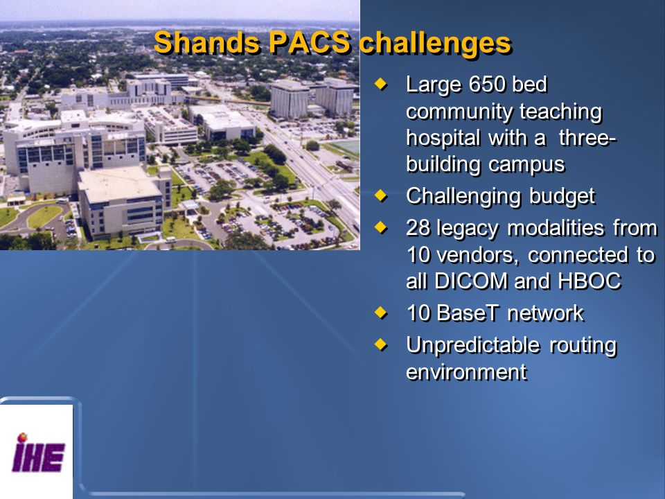 Shands PACS challenges Large 650 bed community teaching hospital with a three- building campus Challenging budget 28 legacy modalities from 10 vendors, connected to all DICOM and HBOC 10 BaseT network Unpredictable routing environment Large 650 bed community teaching hospital with a three- building campus Challenging budget 28 legacy modalities from 10 vendors, connected to all DICOM and HBOC 10 BaseT network Unpredictable routing environment