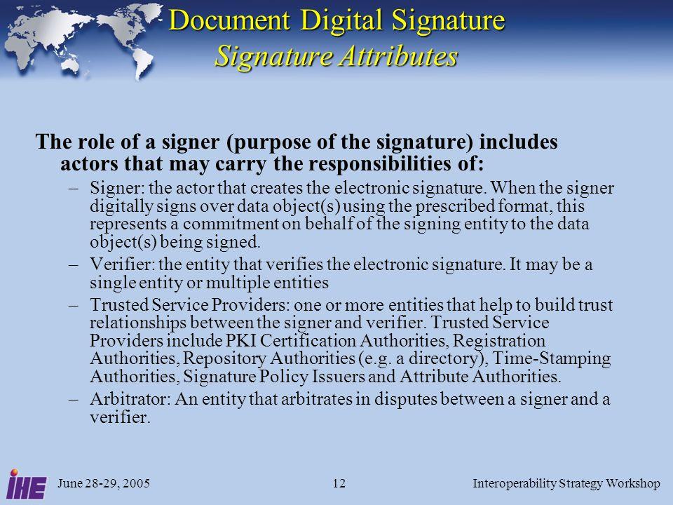 June 28-29, 2005Interoperability Strategy Workshop12 Document Digital Signature Signature Attributes The role of a signer (purpose of the signature) i