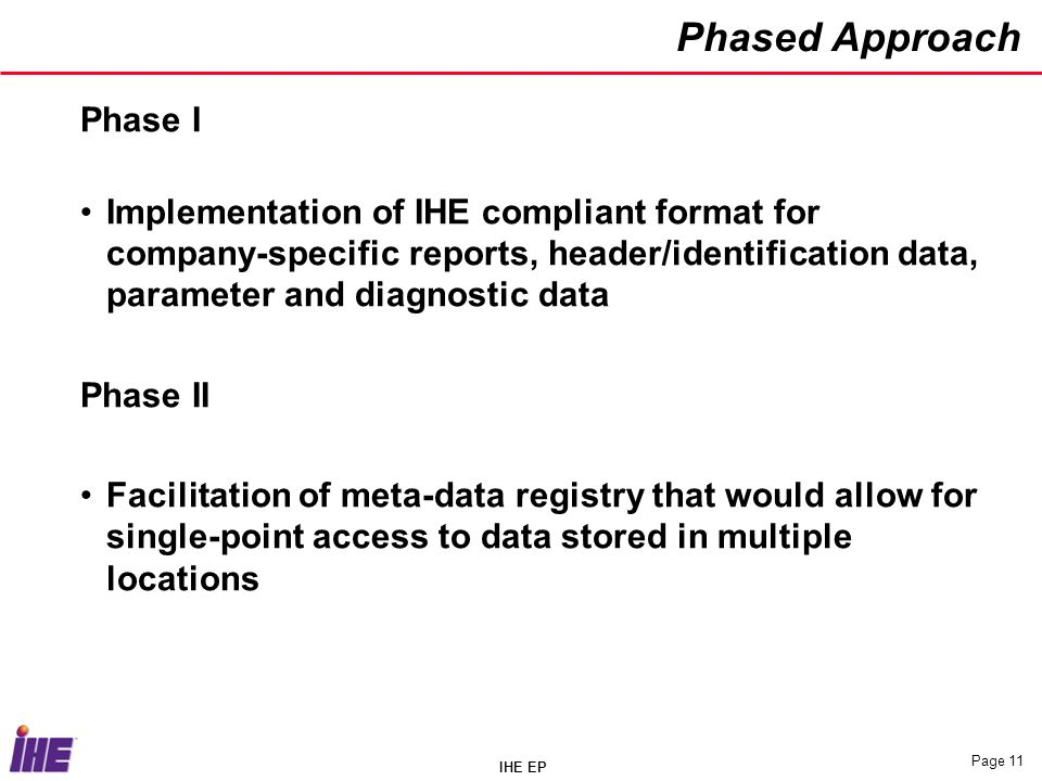 IHE EP Page 11 Phased Approach Phase I Implementation of IHE compliant format for company-specific reports, header/identification data, parameter and diagnostic data Phase II Facilitation of meta-data registry that would allow for single-point access to data stored in multiple locations