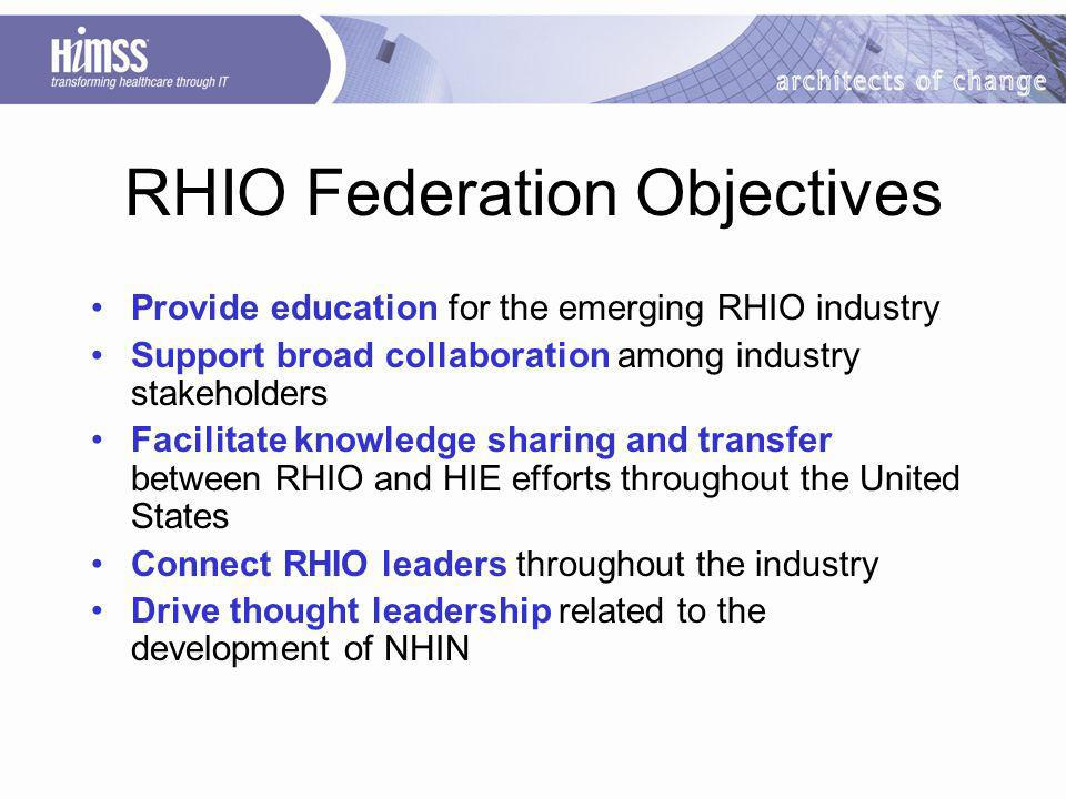 RHIO Federation Objectives Provide education for the emerging RHIO industry Support broad collaboration among industry stakeholders Facilitate knowledge sharing and transfer between RHIO and HIE efforts throughout the United States Connect RHIO leaders throughout the industry Drive thought leadership related to the development of NHIN