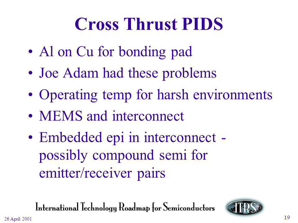 Work in Progress --- Not for Publication 26 April 2001 19 Cross Thrust PIDS Al on Cu for bonding pad Joe Adam had these problems Operating temp for harsh environments MEMS and interconnect Embedded epi in interconnect - possibly compound semi for emitter/receiver pairs