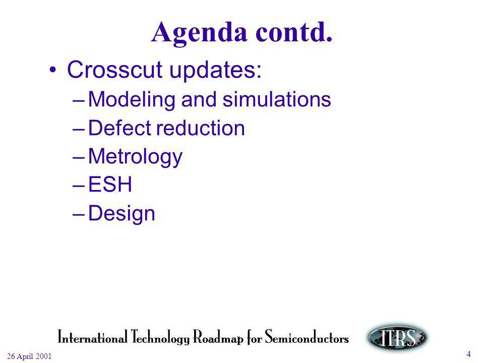 Work in Progress --- Not for Publication 26 April 2001 4 Agenda contd.
