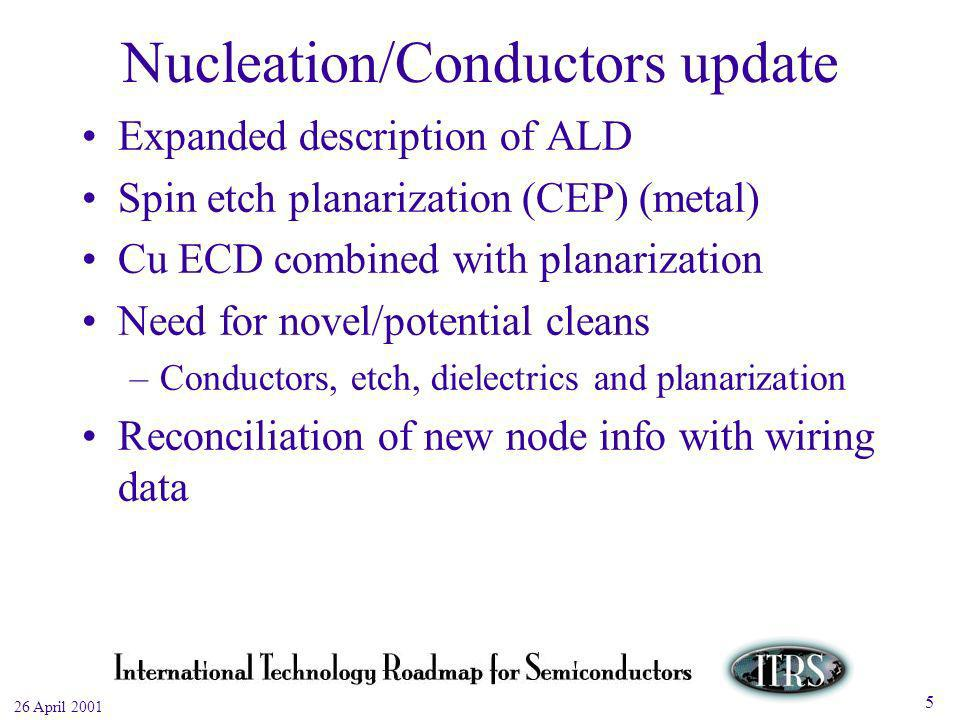 Work in Progress --- Not for Publication 26 April 2001 5 Nucleation/Conductors update Expanded description of ALD Spin etch planarization (CEP) (metal) Cu ECD combined with planarization Need for novel/potential cleans –Conductors, etch, dielectrics and planarization Reconciliation of new node info with wiring data
