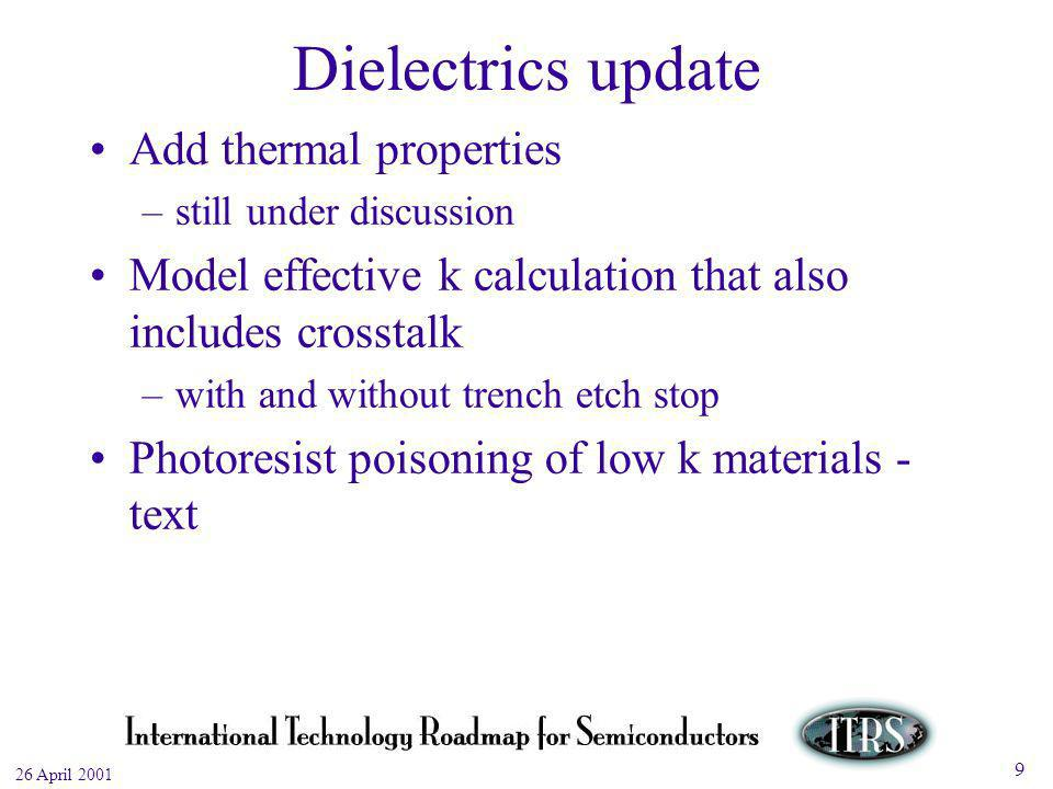 Work in Progress --- Not for Publication 26 April Dielectrics update Add thermal properties –still under discussion Model effective k calculation that also includes crosstalk –with and without trench etch stop Photoresist poisoning of low k materials - text