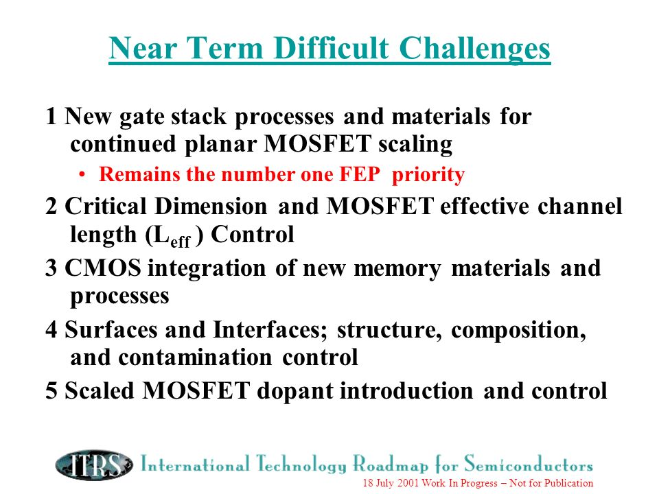 18 July 2001 Work In Progress – Not for Publication Near Term Difficult Challenges 1 New gate stack processes and materials for continued planar MOSFET scaling Remains the number one FEP priority 2 Critical Dimension and MOSFET effective channel length (L eff ) Control 3 CMOS integration of new memory materials and processes 4 Surfaces and Interfaces; structure, composition, and contamination control 5 Scaled MOSFET dopant introduction and control