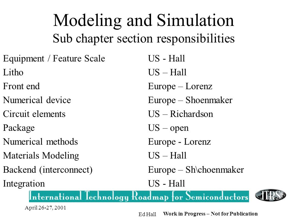 April 26-27, 2001 Ed Hall Work in Progress – Not for Publication Modeling and Simulation Sub chapter section responsibilities Equipment / Feature Scal