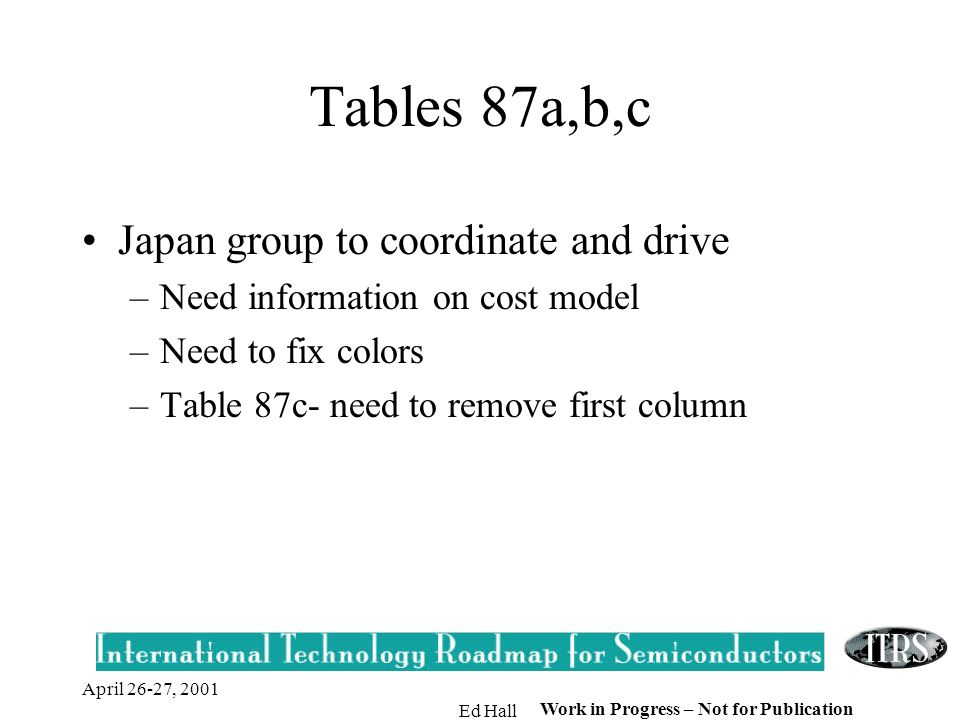 April 26-27, 2001 Ed Hall Work in Progress – Not for Publication Tables 87a,b,c Japan group to coordinate and drive –Need information on cost model –Need to fix colors –Table 87c- need to remove first column