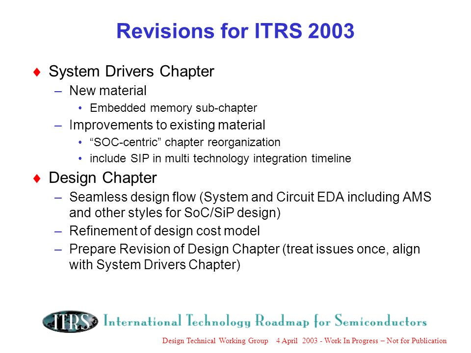 Design Technical Working Group 4 April 2003 - Work In Progress – Not for Publication Revisions for ITRS 2003 System Drivers Chapter –New material Embedded memory sub-chapter –Improvements to existing material SOC-centric chapter reorganization include SIP in multi technology integration timeline Design Chapter –Seamless design flow (System and Circuit EDA including AMS and other styles for SoC/SiP design) –Refinement of design cost model –Prepare Revision of Design Chapter (treat issues once, align with System Drivers Chapter)