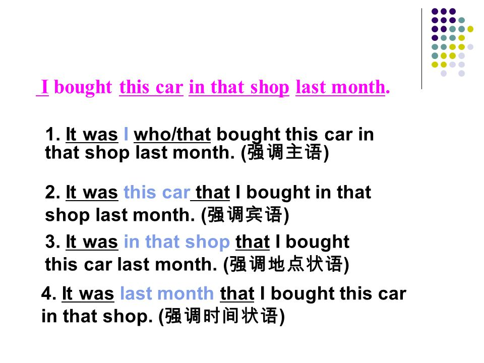 I bought this car in that shop last month. 1.