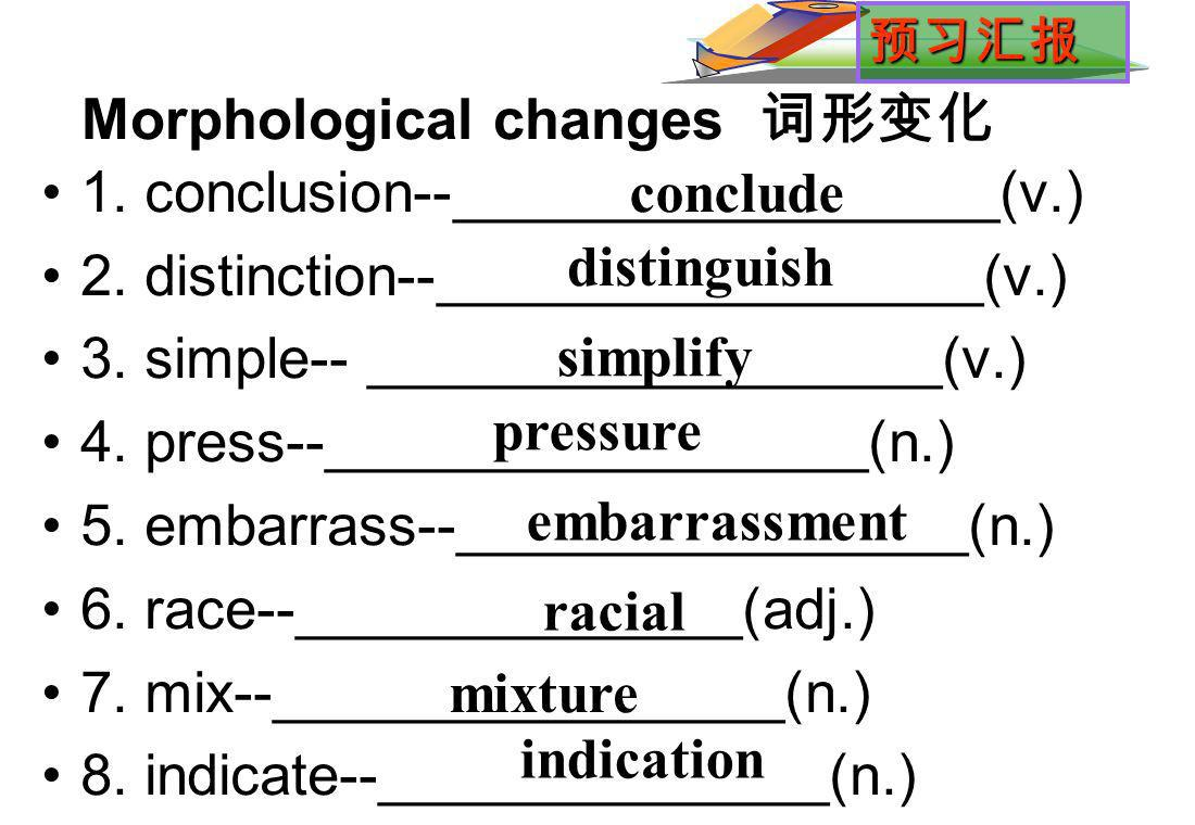 Morphological changes 1. conclusion--_________________(v.) 2.
