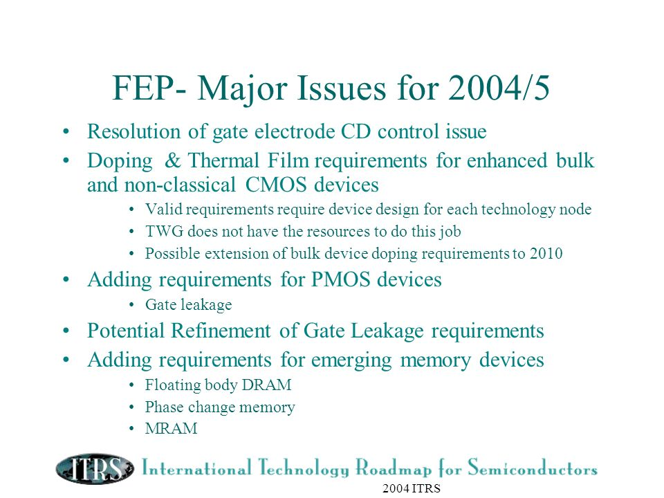 2004 ITRS FEP- Major Issues for 2004/5 Resolution of gate electrode CD control issue Doping & Thermal Film requirements for enhanced bulk and non-clas