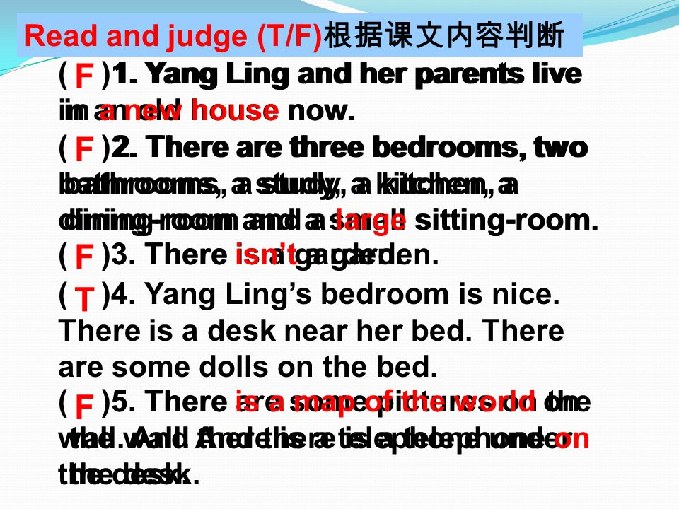 What? Where? a desk on the wall a telephone on the bed near the bed a map of the world on the desk some dolls ? ? Look, this is Yang Lings bedroom. Th