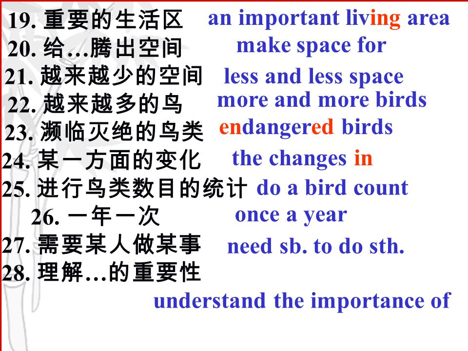 19. 20. … 21. 22. 23. 24. 25. 26. 27. 28. … an important living area make space for less and less space more and more birds endangered birds the chang