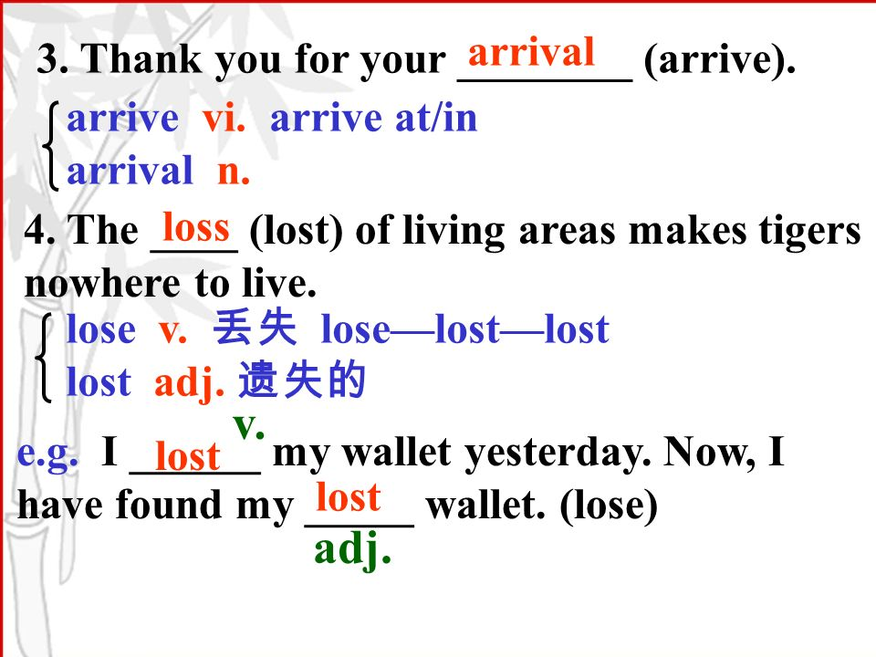 3. Thank you for your ________ (arrive). arrival arrive vi.