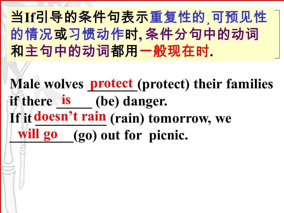 If ¸,. Male wolves _______(protect) their families if there _____ (be) danger.