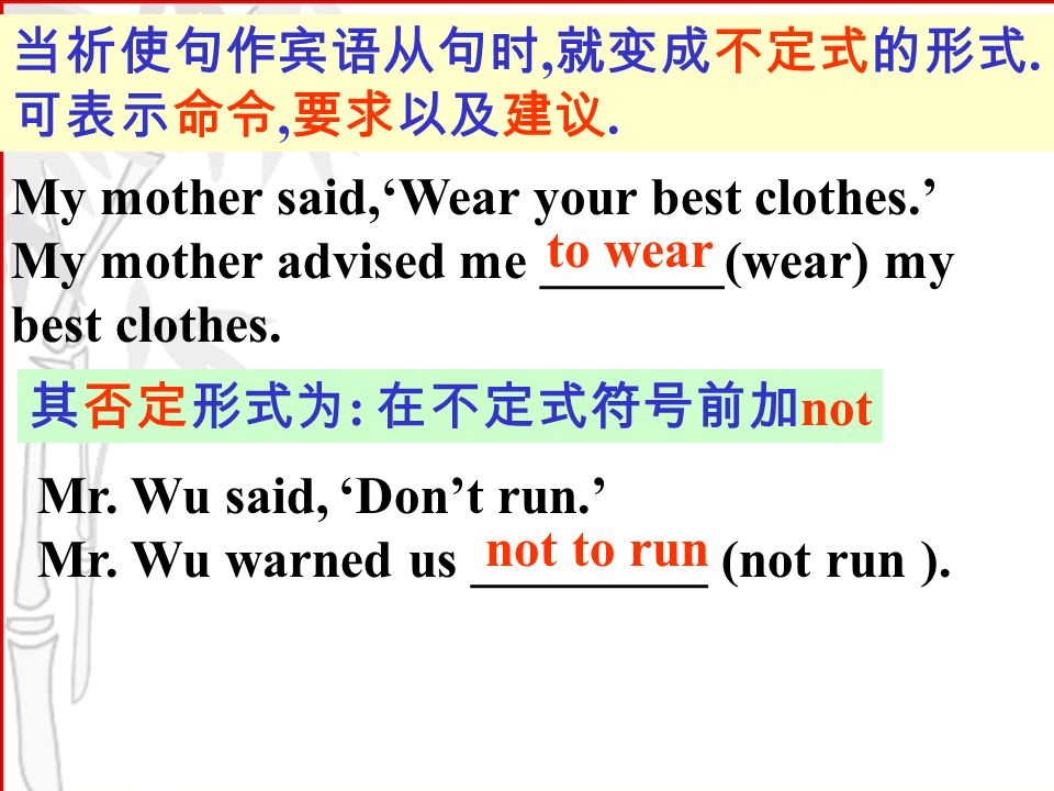 My mother said,Wear your best clothes. My mother advised me _______(wear) my best clothes.