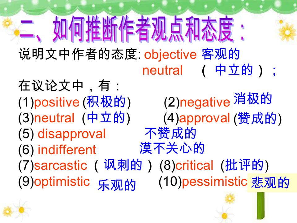 : objective neutral (1)positive ( ) (2)negative (3)neutral ( ) (4)approval (5) disapproval (6) indifferent (7)sarcastic (8)critical ( ) (9)optimistic