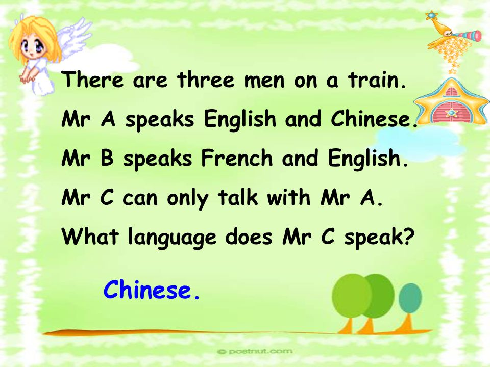 There are three men on a train. Mr A speaks English and Chinese. Mr B speaks French and English. Mr C can only talk with Mr A. What language does Mr C