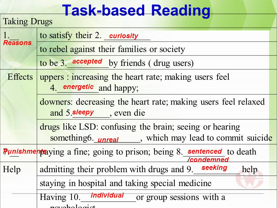 Task-based Reading Taking Drugs 1.__to satisfy their 2.