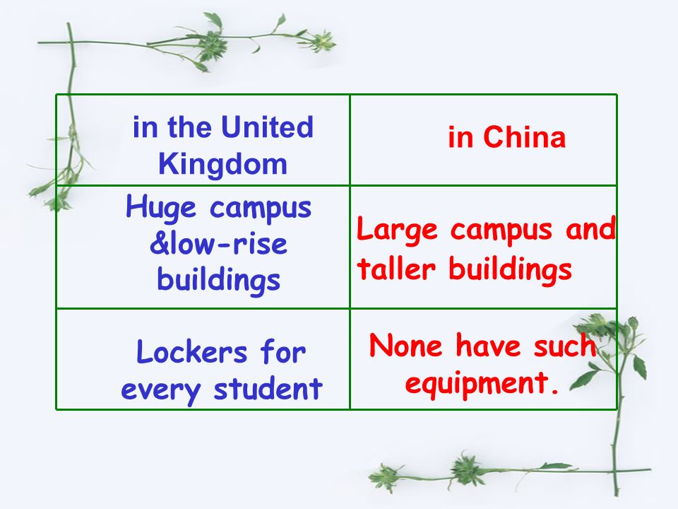 Step II Comparison Compare the school life in the UK with that in China and fill in the table.