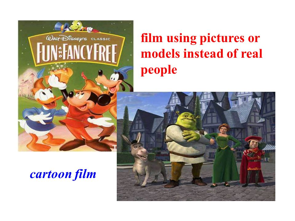 cartoon film film using pictures or models instead of real people