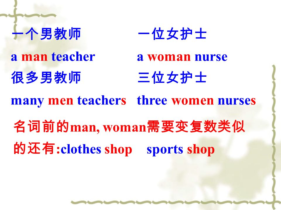 a man teacher many men teachers a woman nurse three women nurses man, woman :clothes shop sports shop