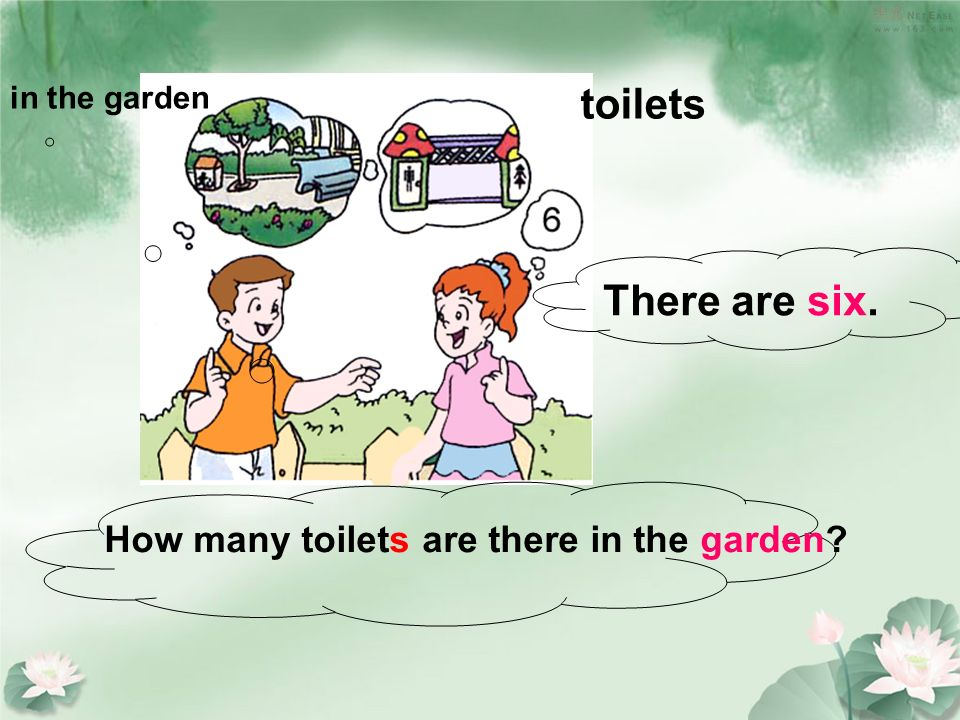 in the garden toilets How many toilets are there in the garden There are six.