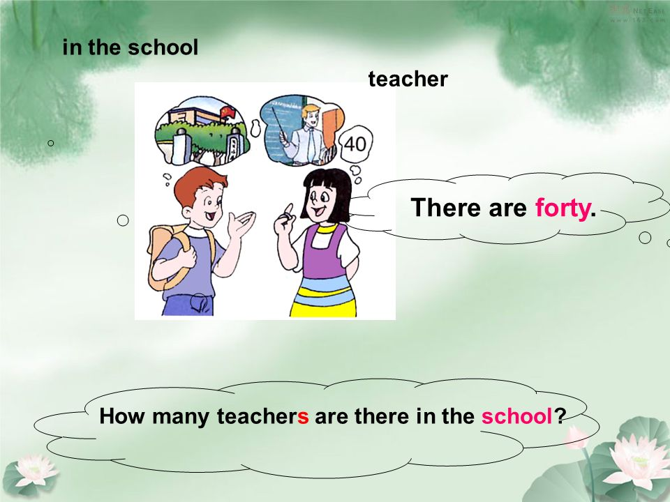 in the school teacher How many teachers are there in the school? There are forty.