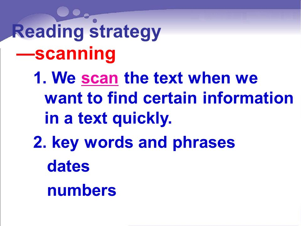 Reading strategy scanning 1.