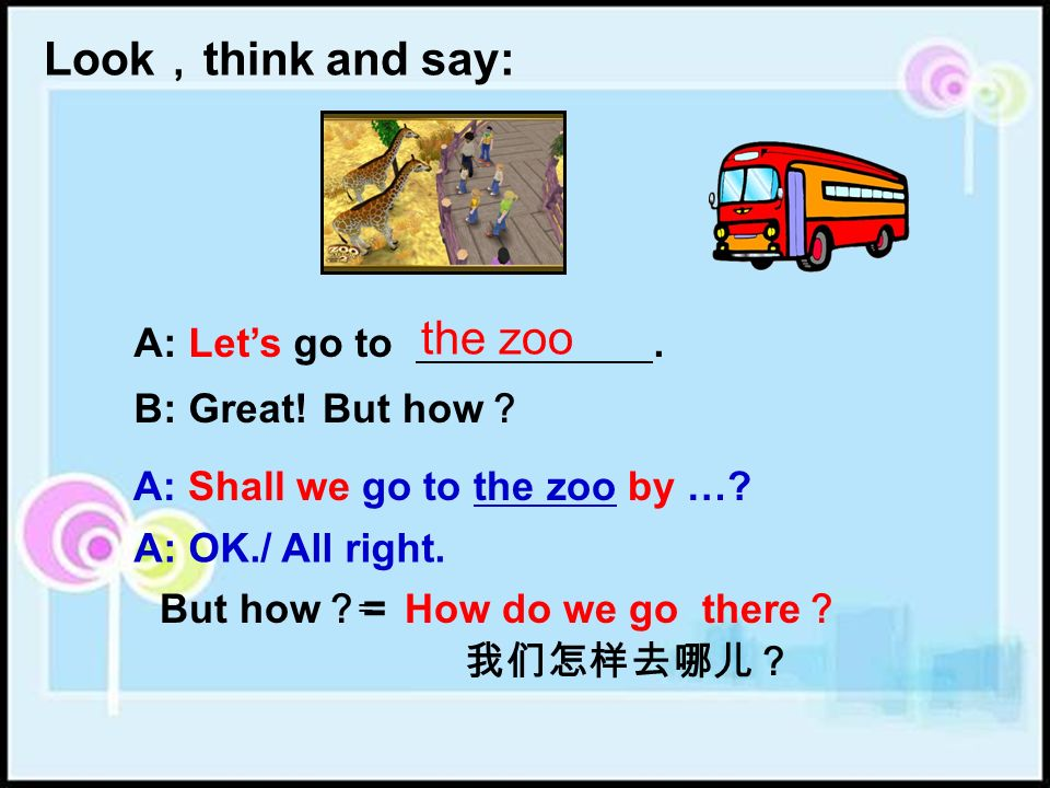 A: Lets go to. B: Great! B: By… Look think and say: B: Shall we go to the park by …? the park A: But how A: OK./ All right.