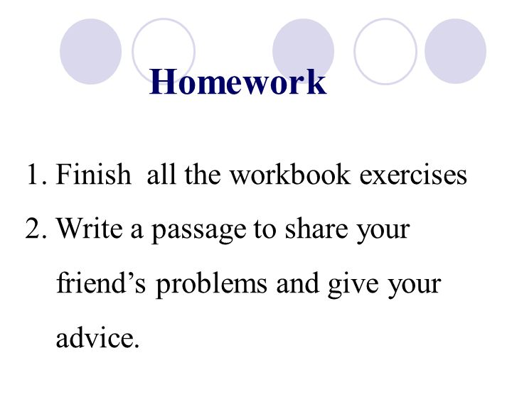 Homework 1. Finish all the workbook exercises 2.